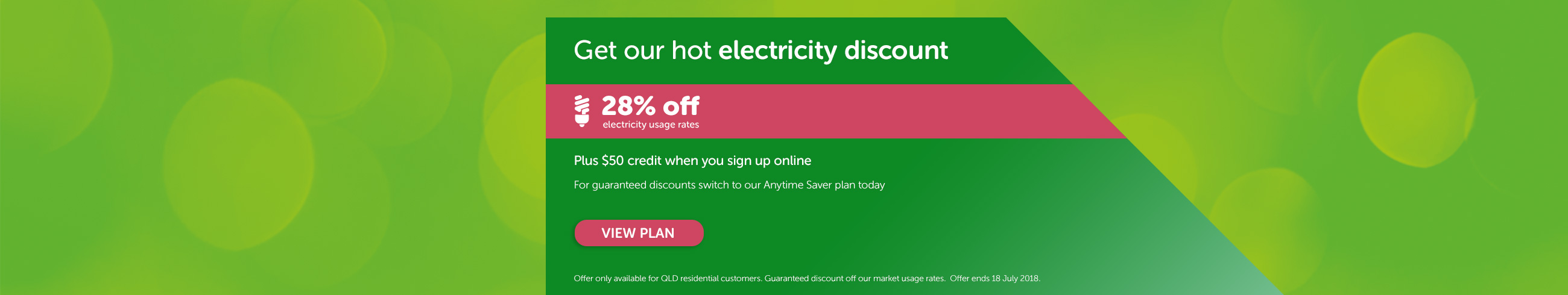 Get out hot electricity discount - Plus $50 credit when you sign up online