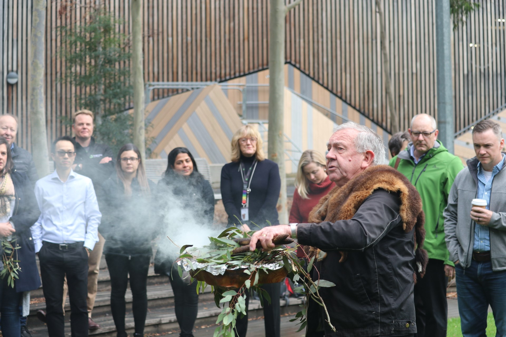 Elder Uncle Ron at Docklands Smoking Ceremony