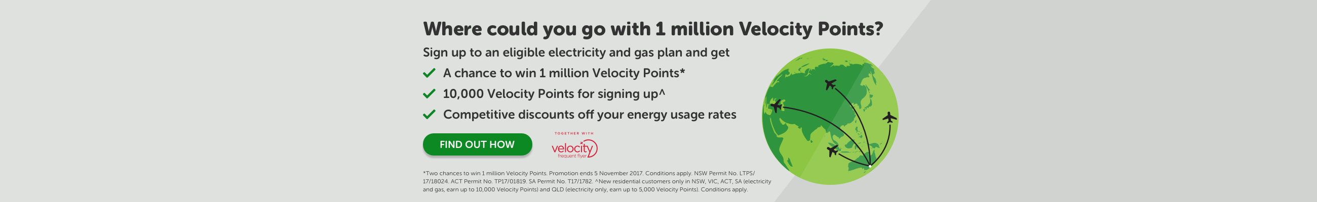 Chance to win 1 million Velocity Points* each week OR Where could a million Velocity Points take you?