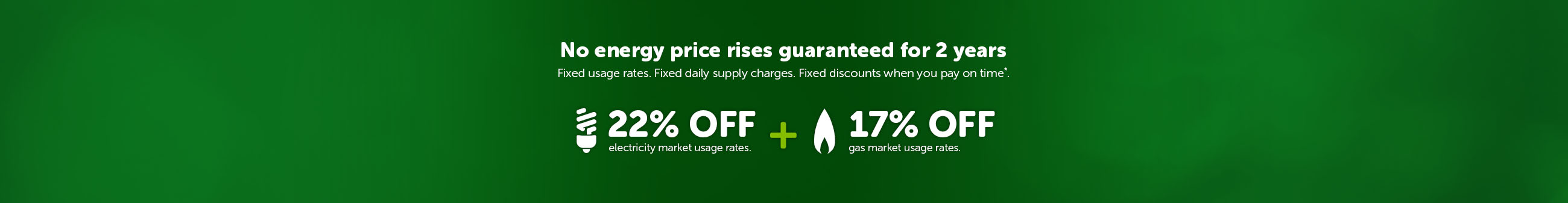 No price rises guaranteed for 2 years. Fixed usage rates. Fixed daily supply charges. Fixed discounts when you pay on time*. 22% off electricity market usage rates. 17% off gas market usage rates.