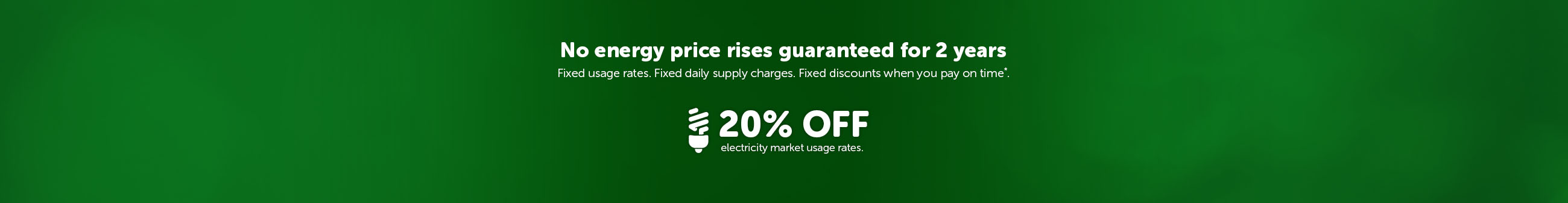 No price rises guaranteed for 2 years. Fixed usage rates. Fixed daily supply charges. Fixed discounts when you pay on time*. 18% off electricity market usage rates.