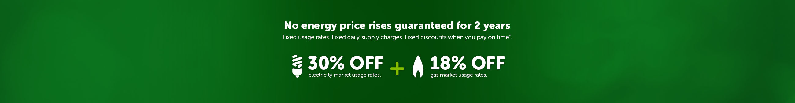 No price rises guaranteed for 2 years. Fixed usage rates. Fixed daily supply charges. Fixed discounts when you pay on time*. 33% off electricity market usage rates. 20% off gas market usage rates.