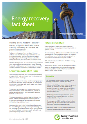 Energy recovery fact sheet
