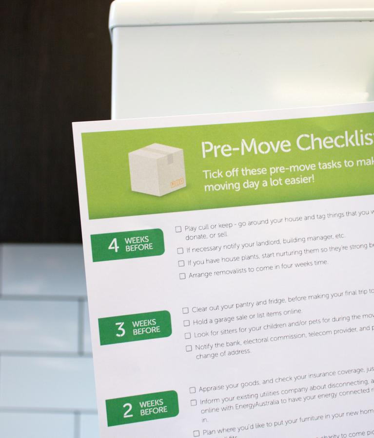 Downloadable pre-move checklist to put on your fridge