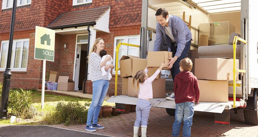 Family moving house without the help of removalists