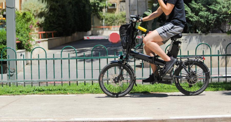 Man riding e-bike