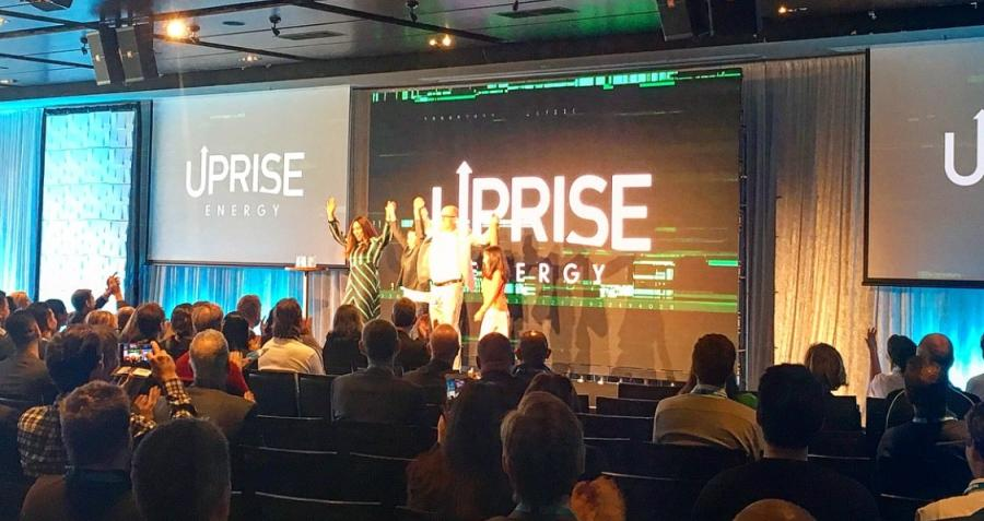 The Uprise team on stage at the MCG Startup Bootcamp