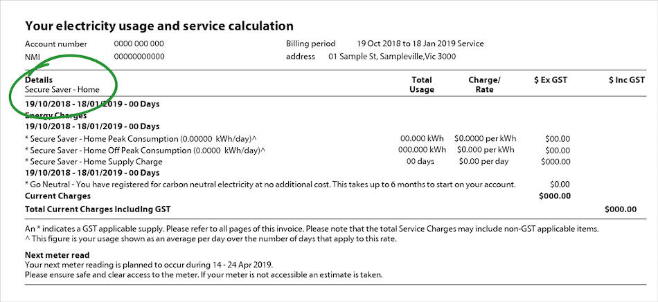 Your electricity usage and service calculation