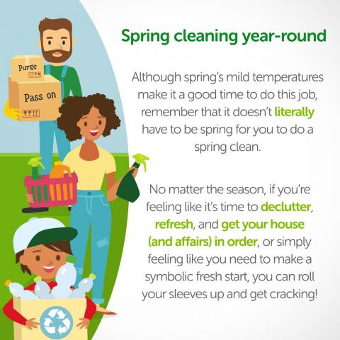 Spring cleaning year-round infographic